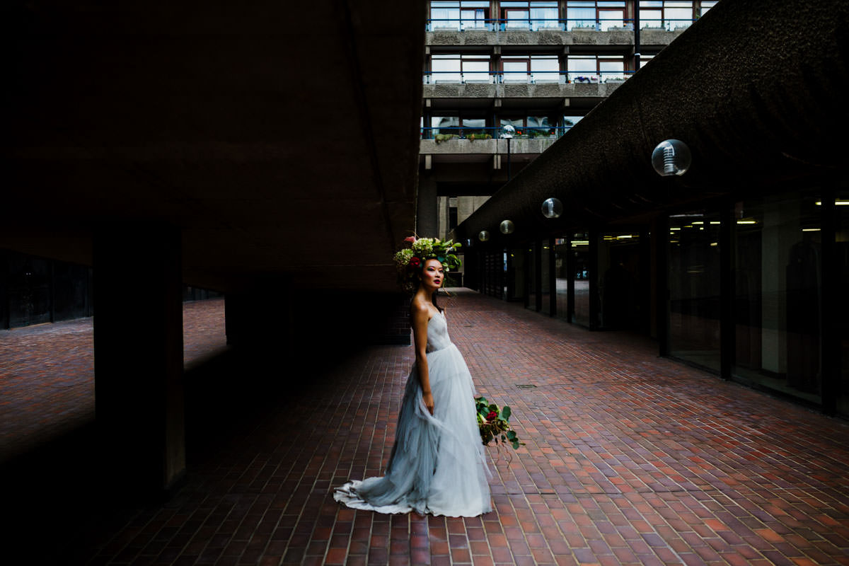 audreyashley couture, BAME model, barbican photo shoot, barbican wedding, Boom blooms, colourful wedding flowers, floral crown, frey de pauli make up, london wedding, millinery
