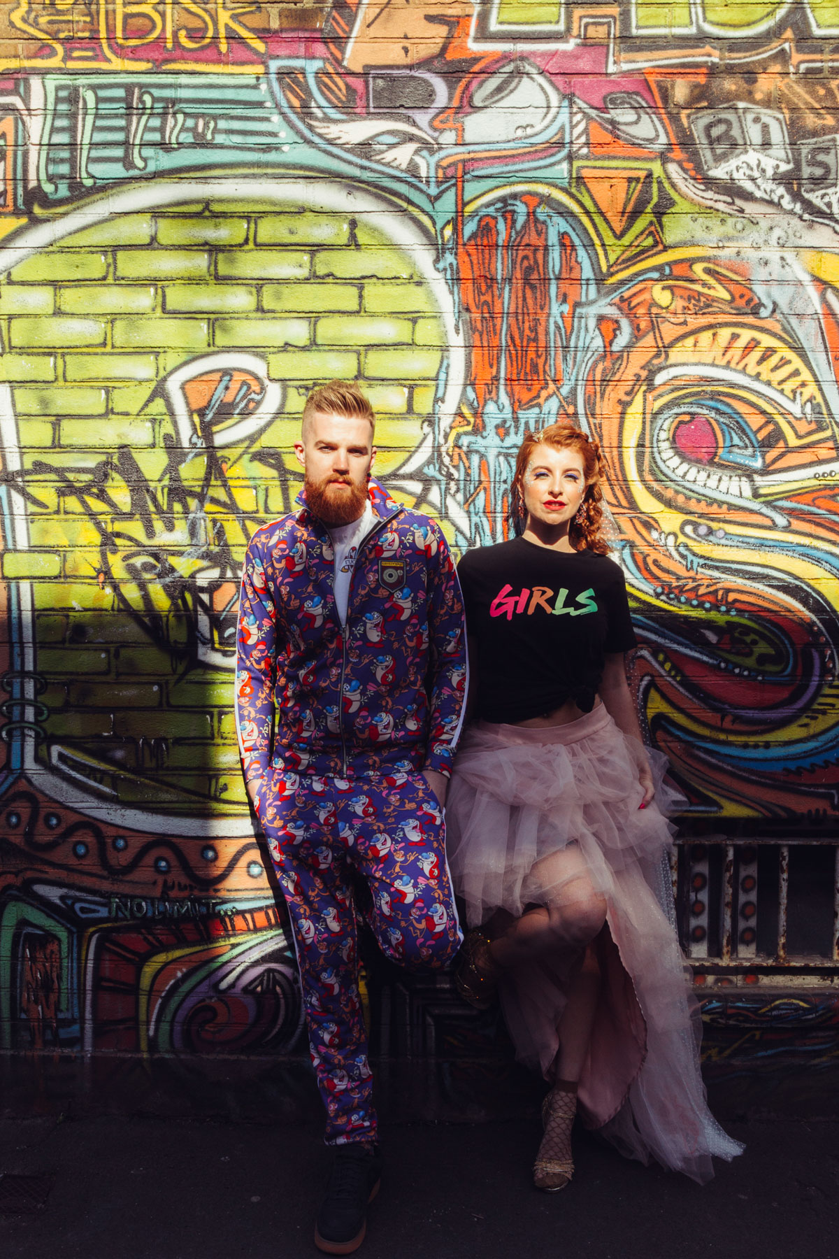 80's electric vibe, ashley wild, brighton wedding, colourful groom suit, Colourful Wedding, dapper and sauve, edgy wedding photography, events by design, hotel pelirocco, neon wedding, pin up wedding, rock the frock, thistle by nature, vcaked away, wayne Kahn, wedding leather jackets