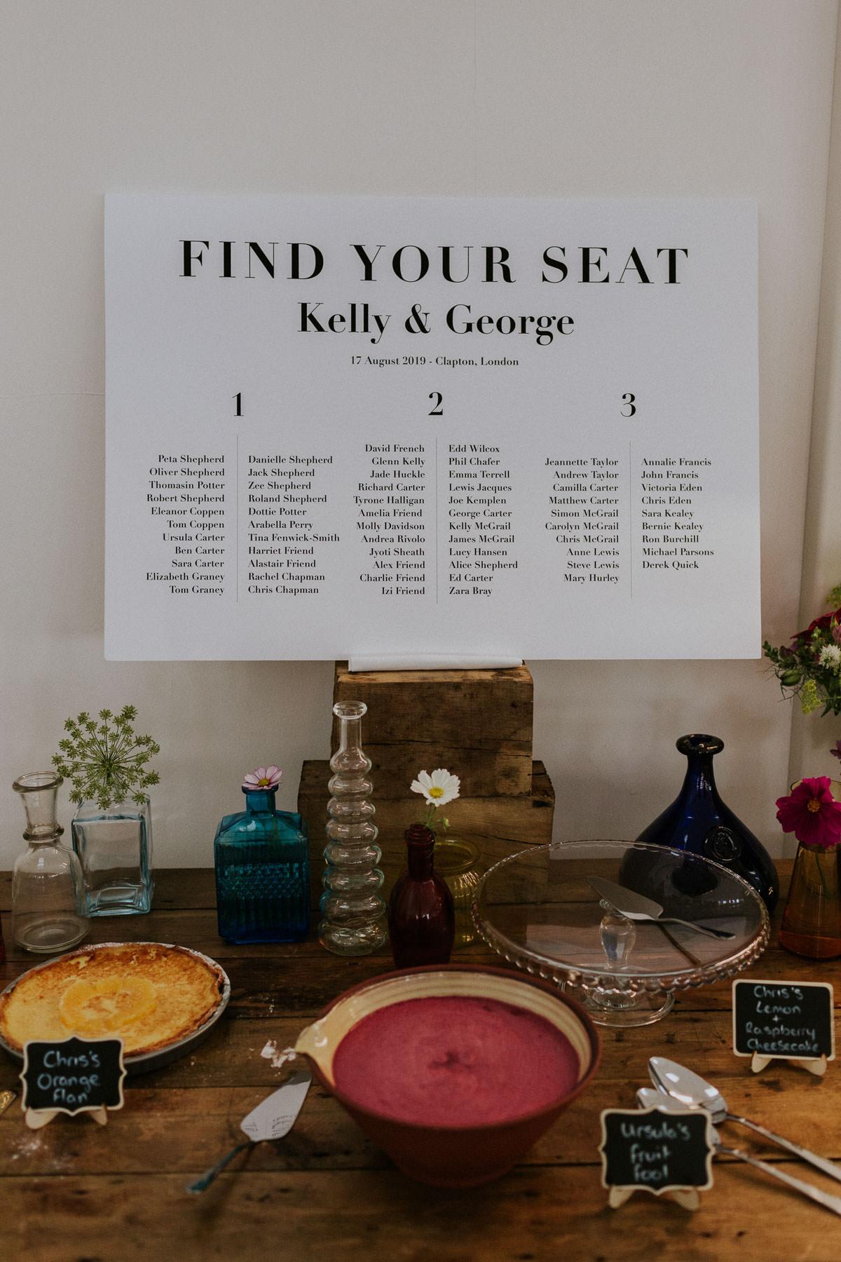 London Wedding at Core Clapton: table plan