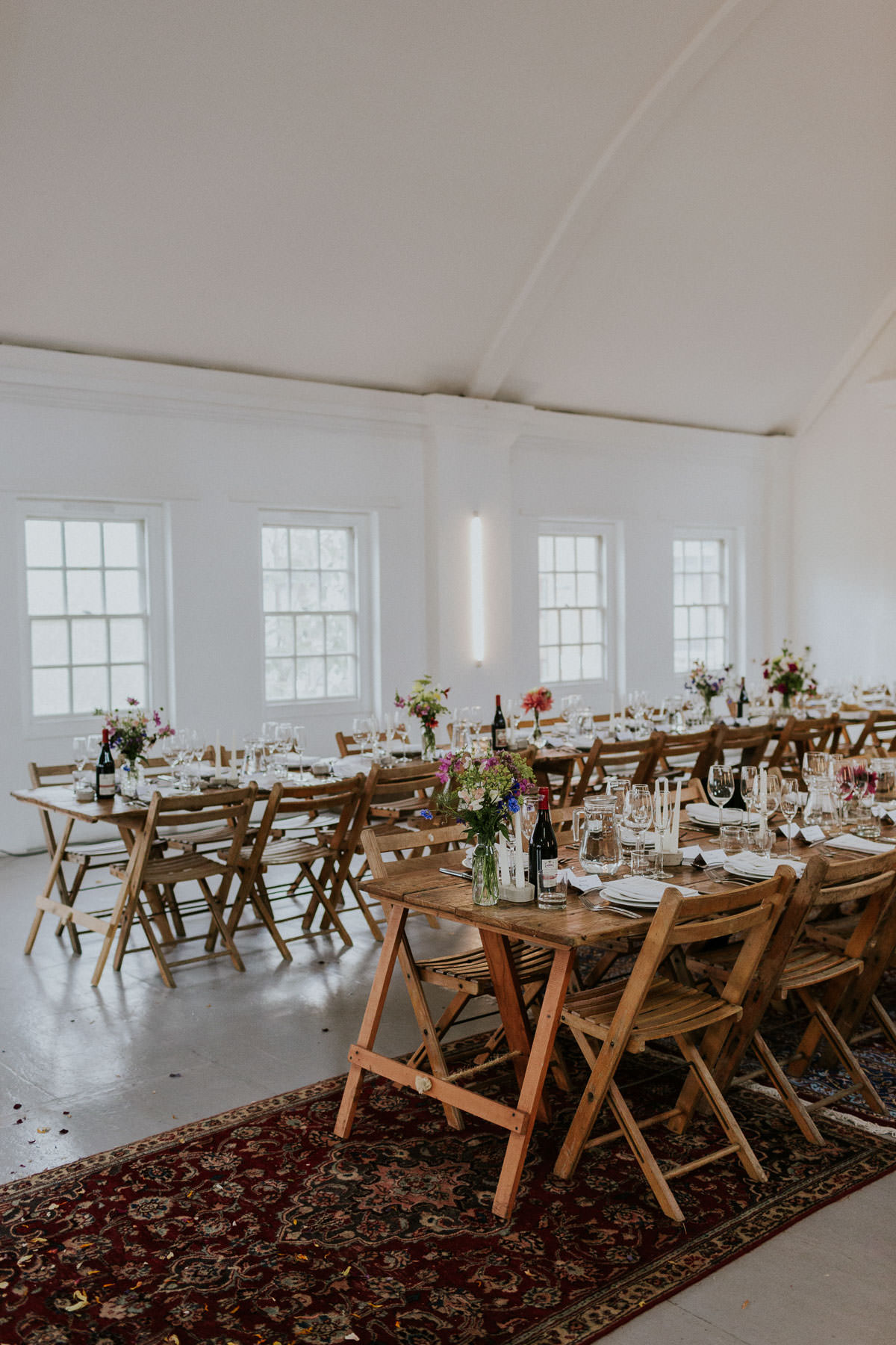 London Wedding at Core Clapton: rustic wooden table and chairs