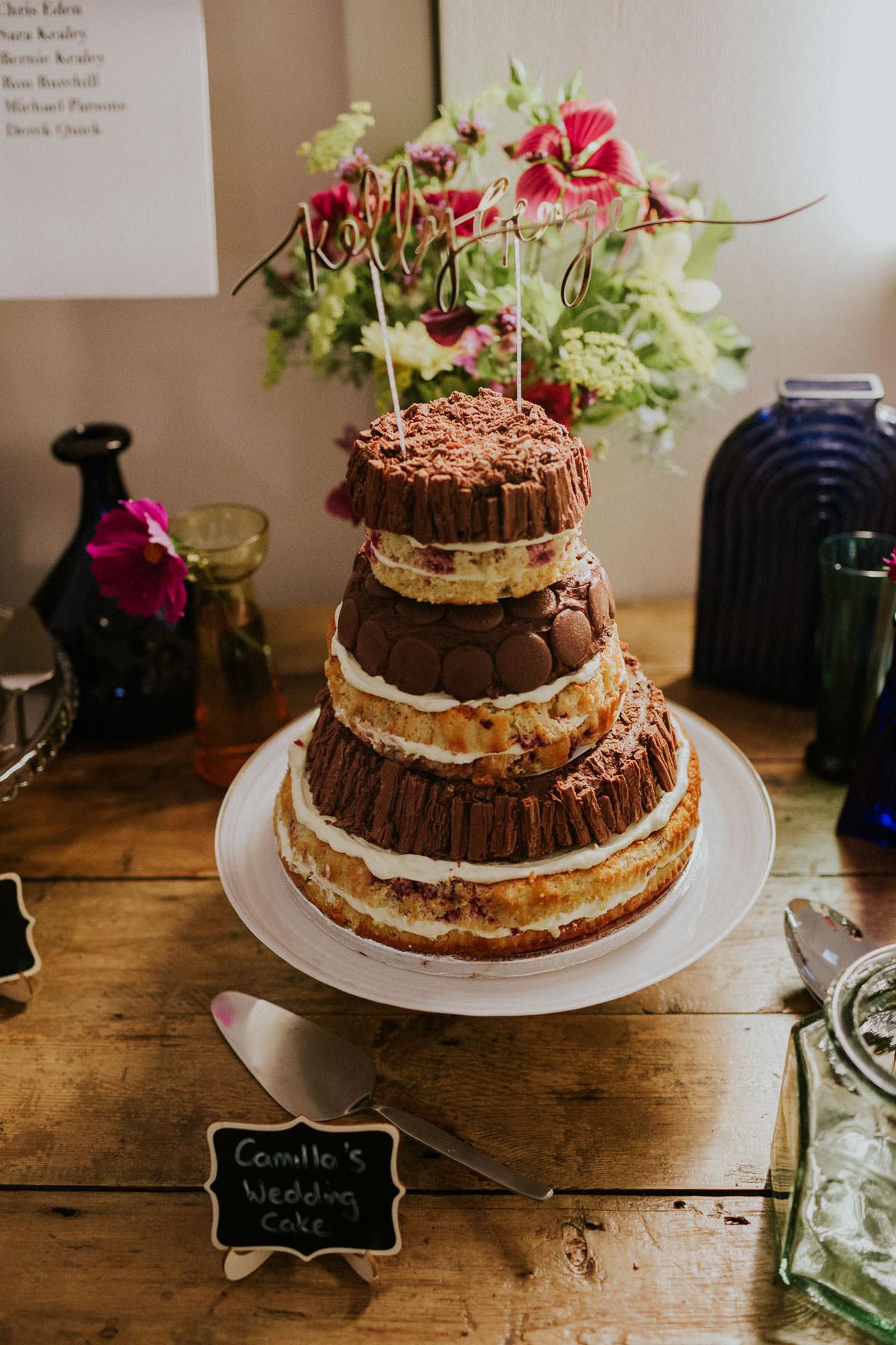 London Wedding at Core Clapton: naked chocolate wedding cake