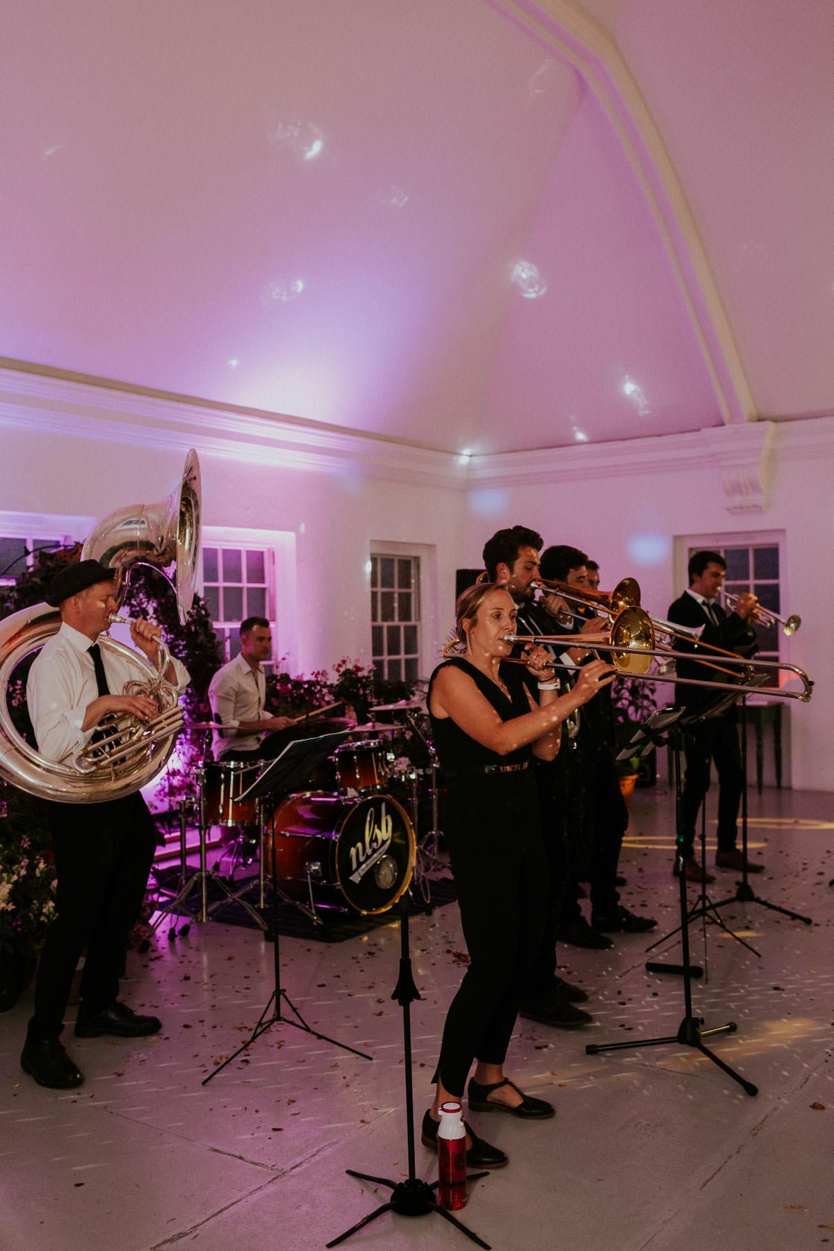 London Wedding at Core Clapton: wedding brass band