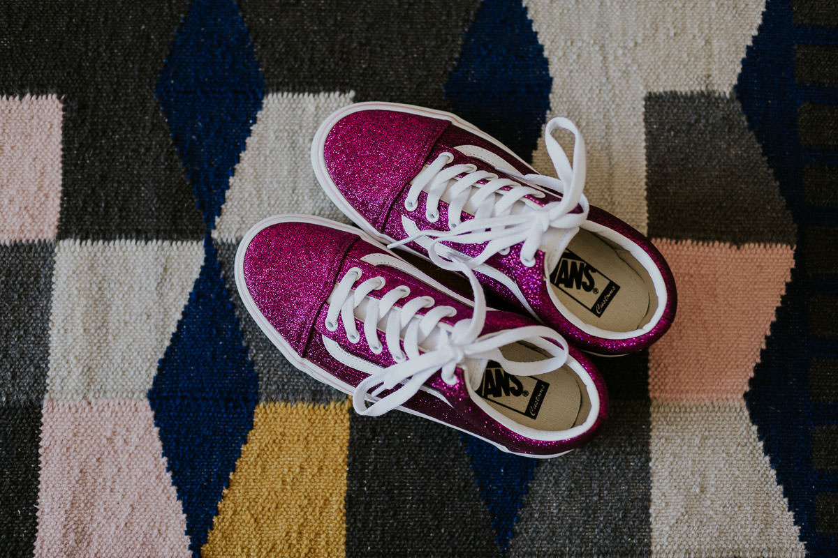 London Wedding at Core Clapton: glitter wedding trainers