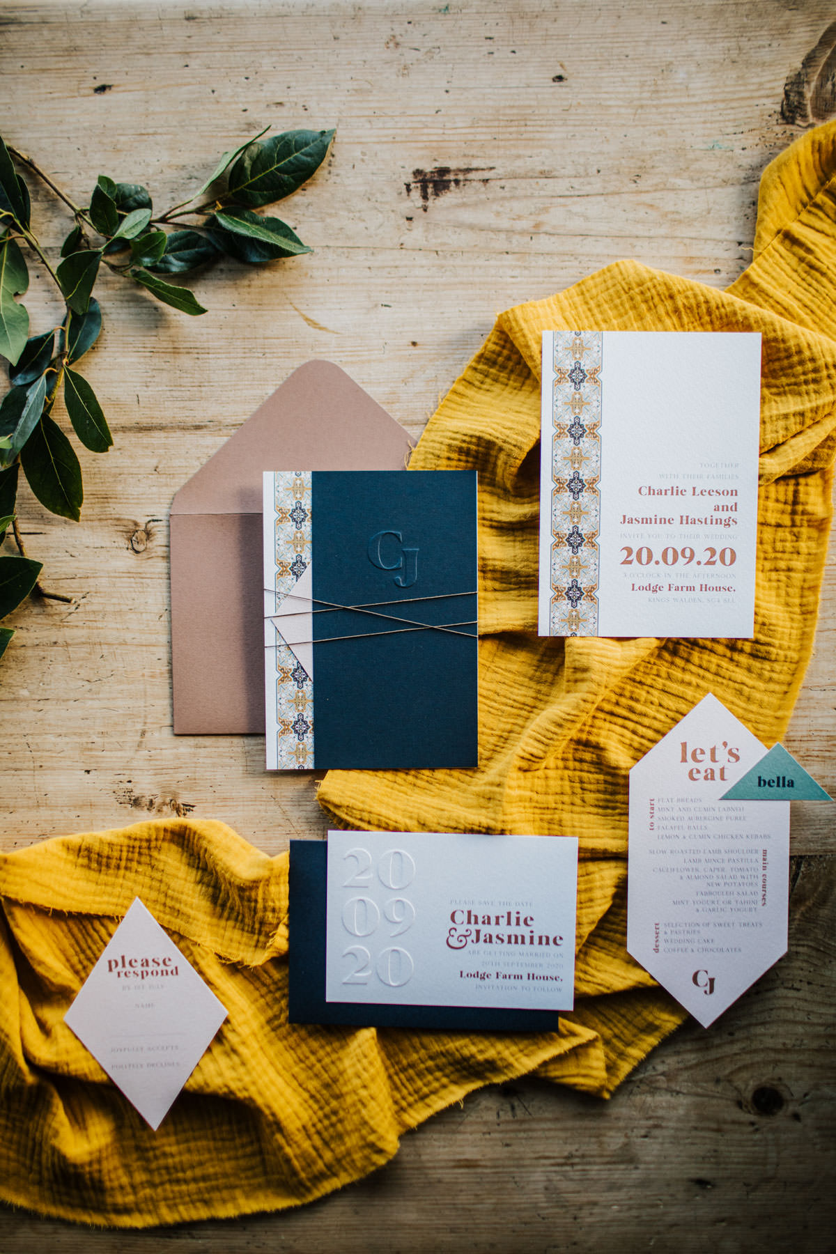 Bohemian Wedding Inspiration: Wedding stationery collection from White Cottage Weddings