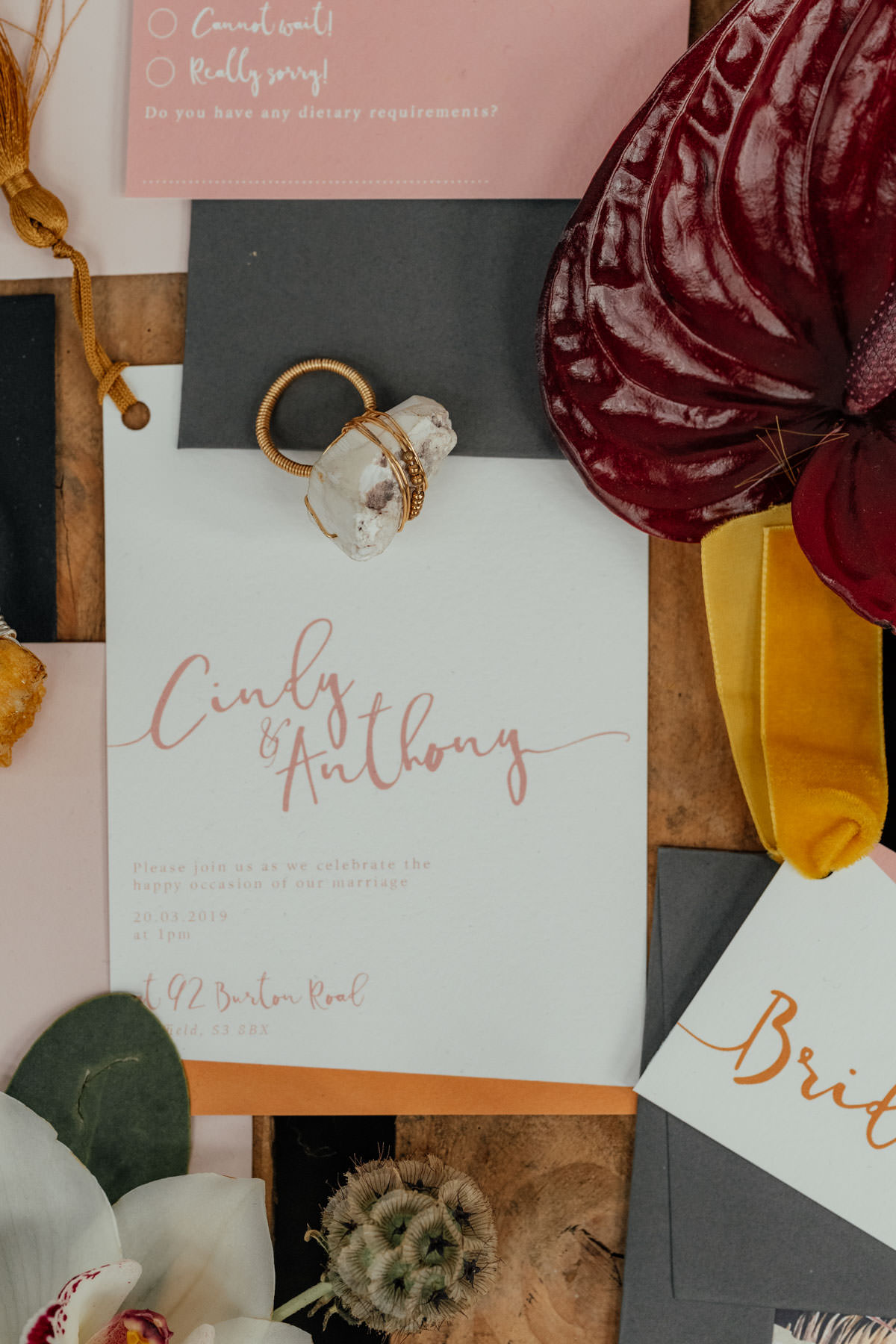 Industrial Meets Boho Wedding Inspiration: Wonderland Invites - floral wedding stationery with script fonts