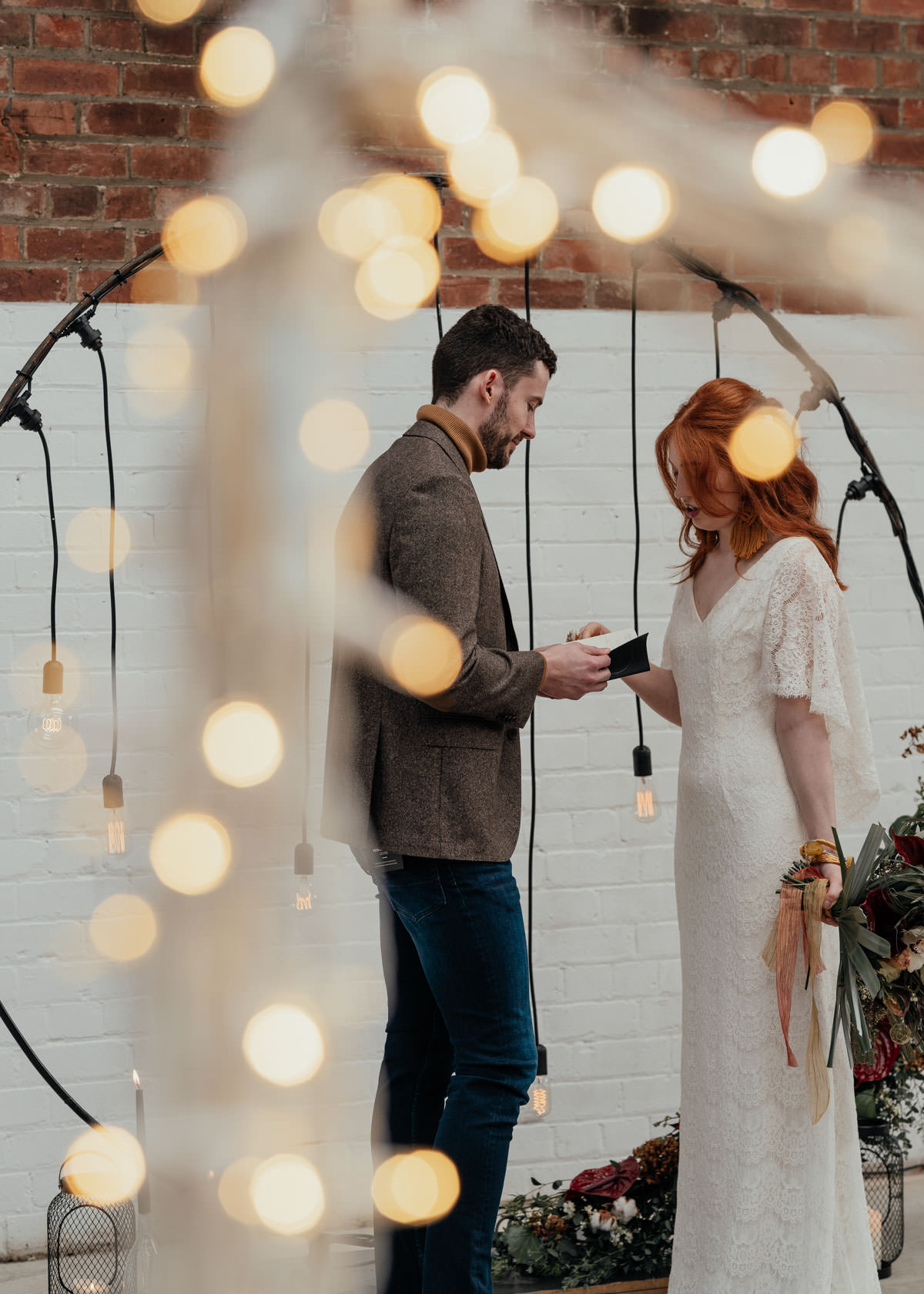 Industrial Meets Boho Wedding Inspiration: Ceremony with Pendant light archway