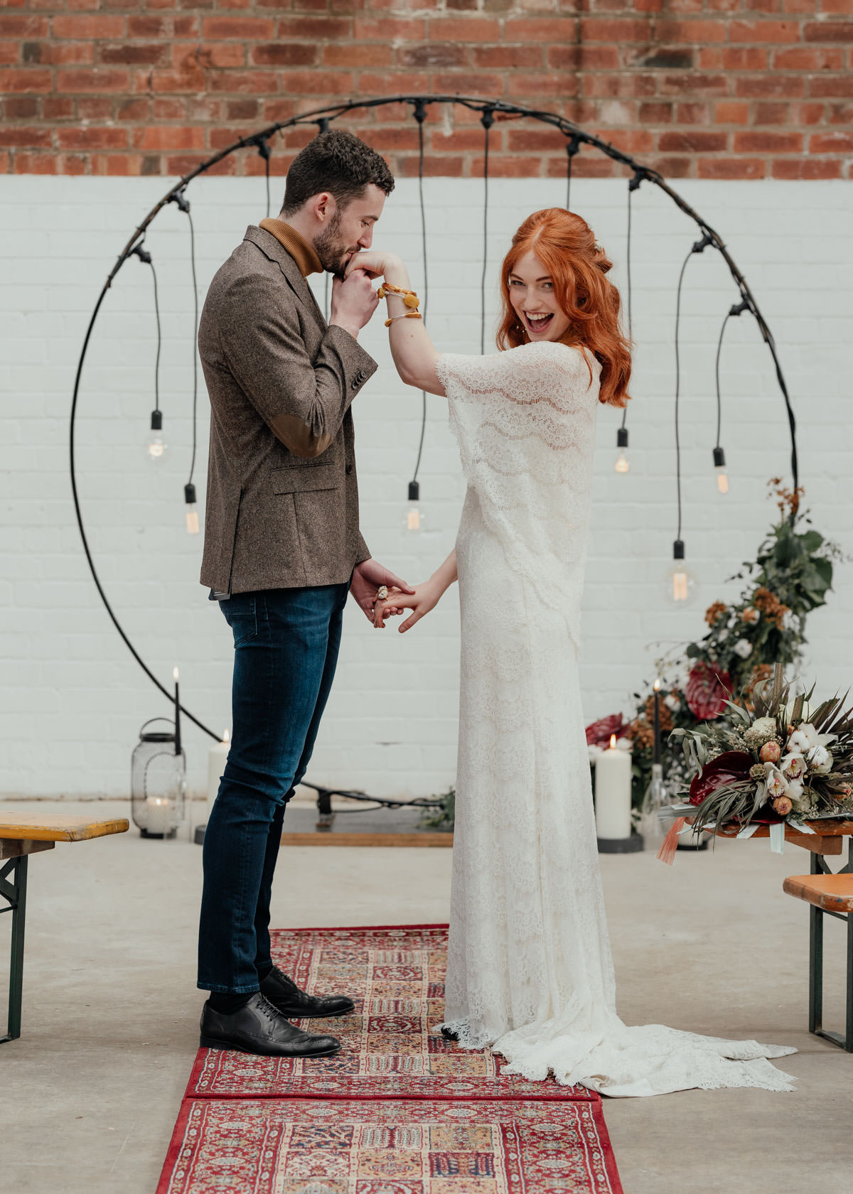 Industrial Meets Boho Wedding Inspiration: Just wed - pendant light ceremony backdrop