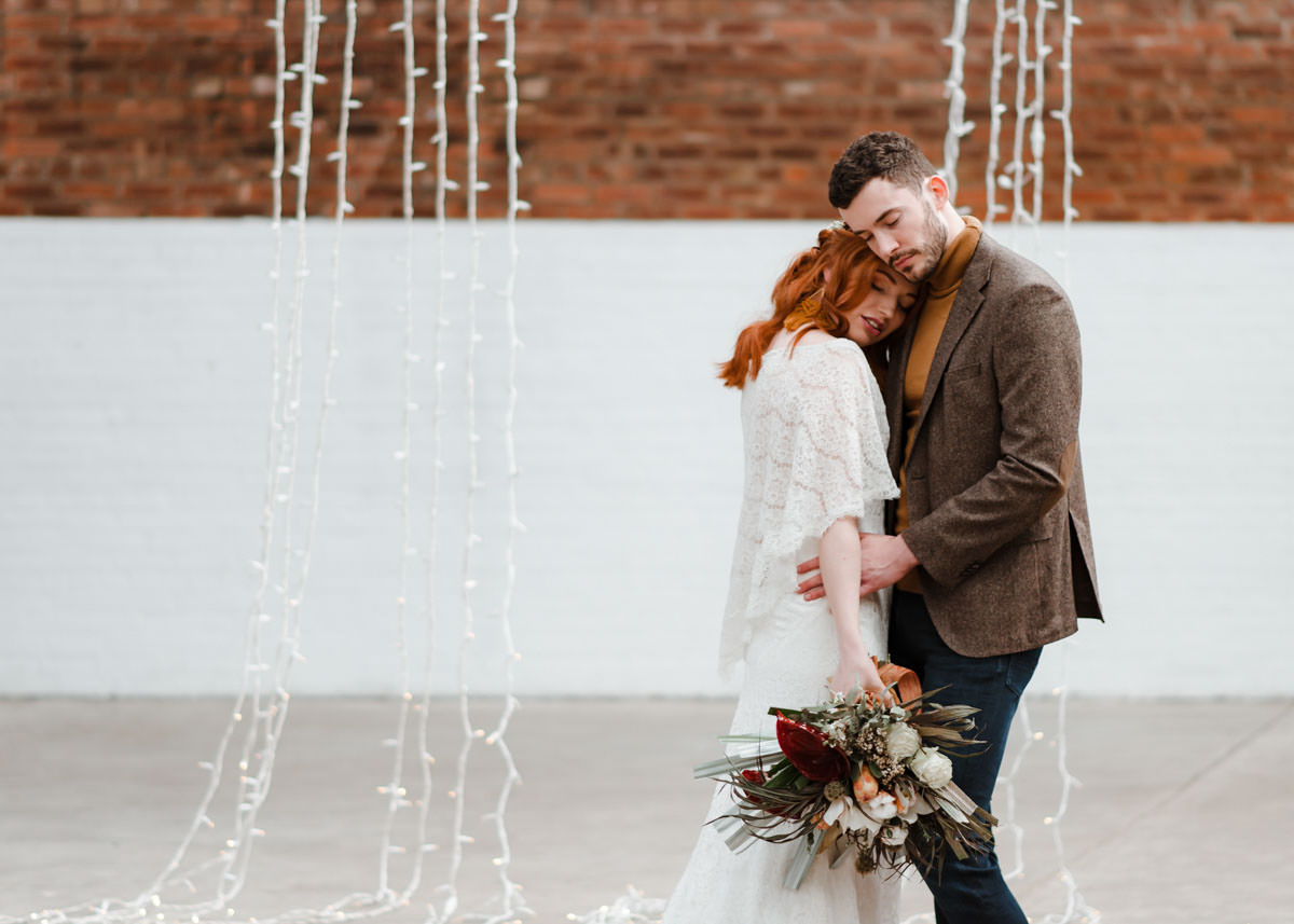 Industrial Meets Boho Wedding Inspiration: Industrial wedding photography - bride and groom love