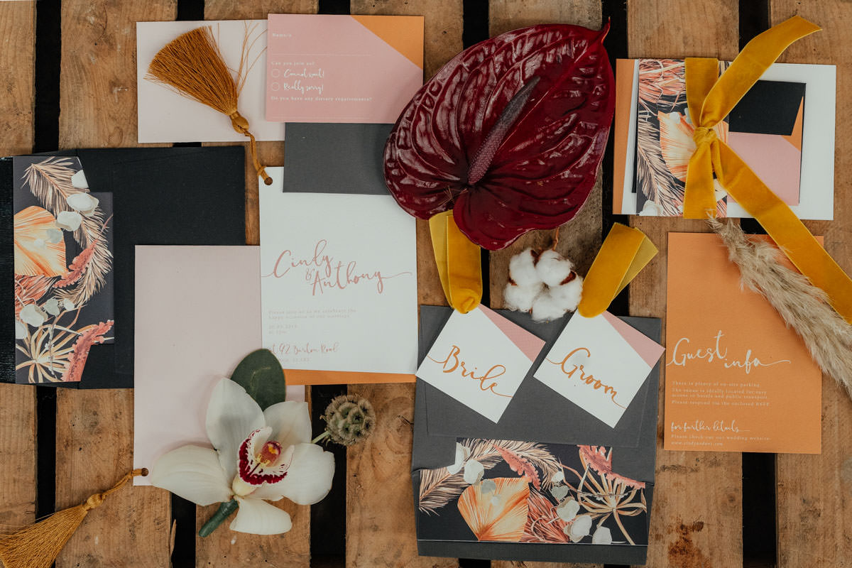 Industrial Meets Boho Wedding Inspiration: Wonderland Invites - wedding stationery