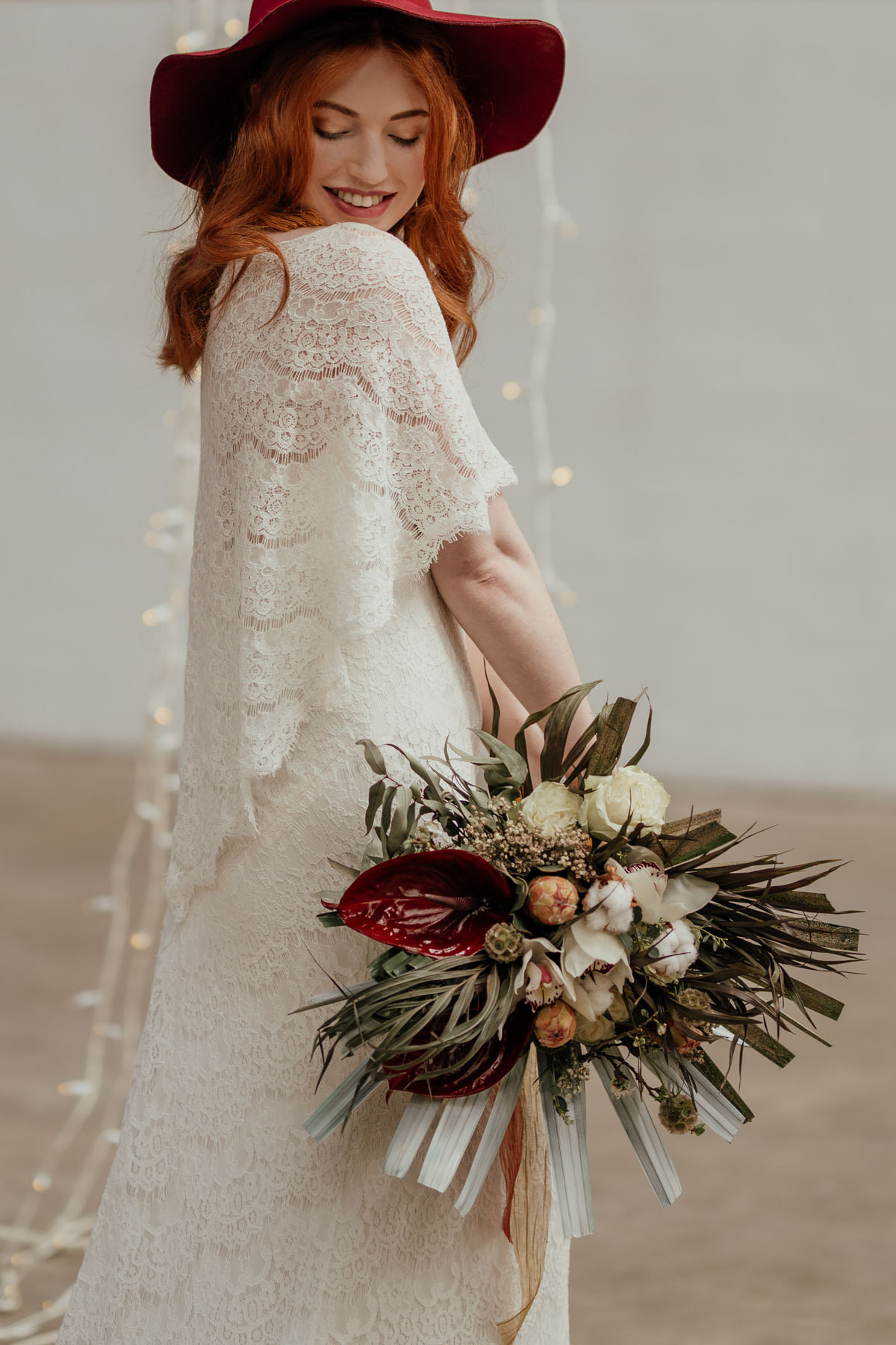 Industrial Meets Boho Wedding Inspiration: Wedding bouquet with palms, cotton, dried flowers, Anthuriums