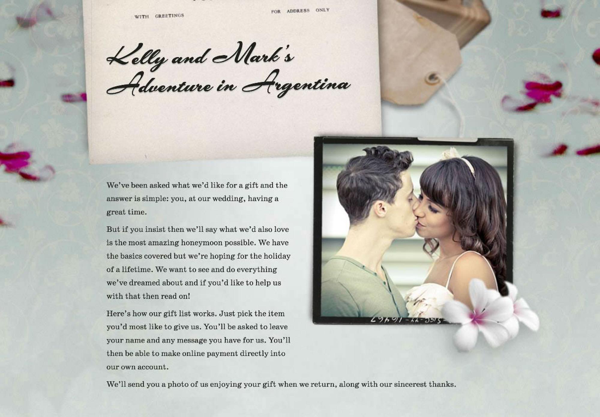 Buy Our Honeymoon - Alternative wedding gift service
