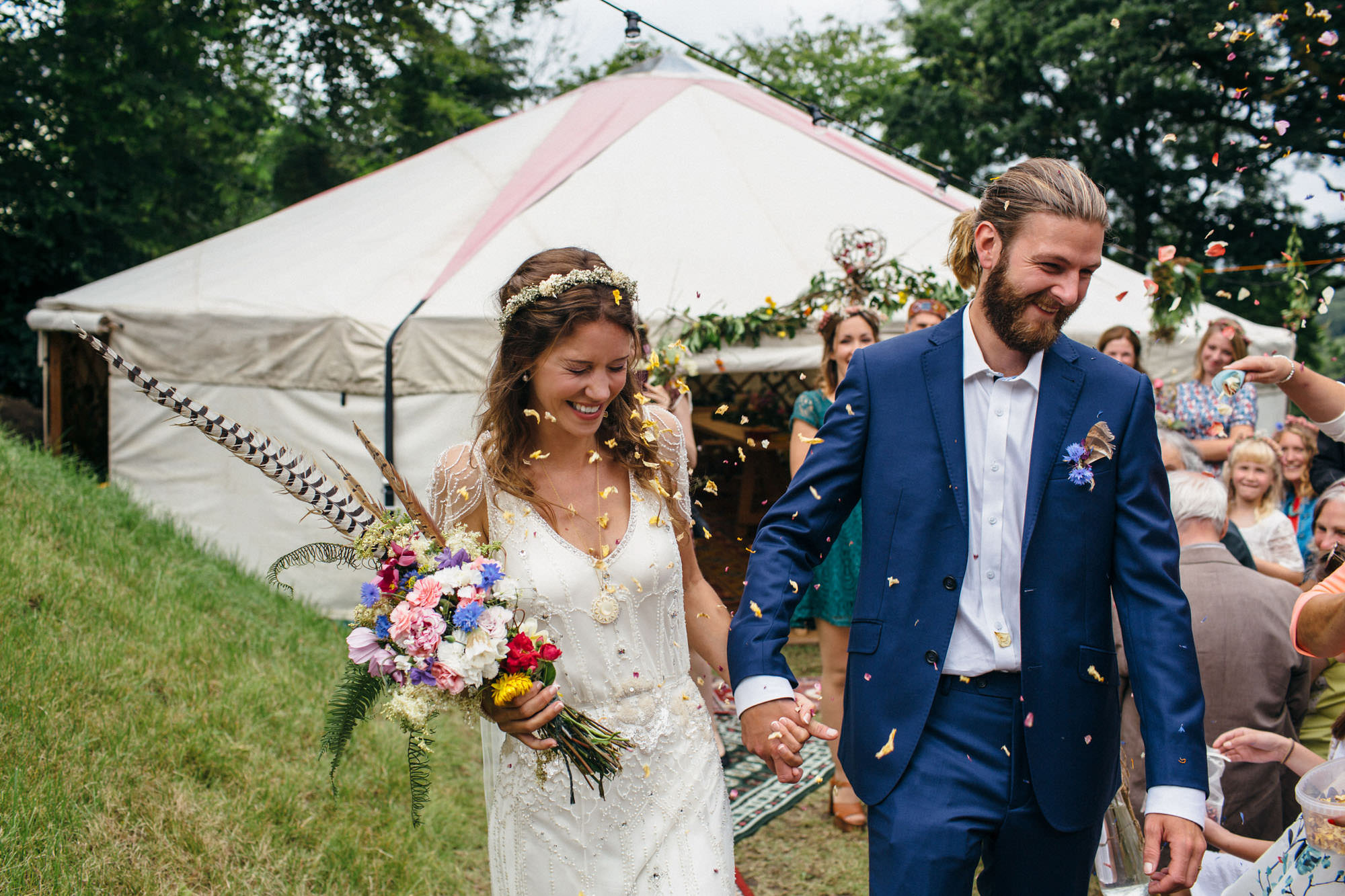 festival style wedding with yurt