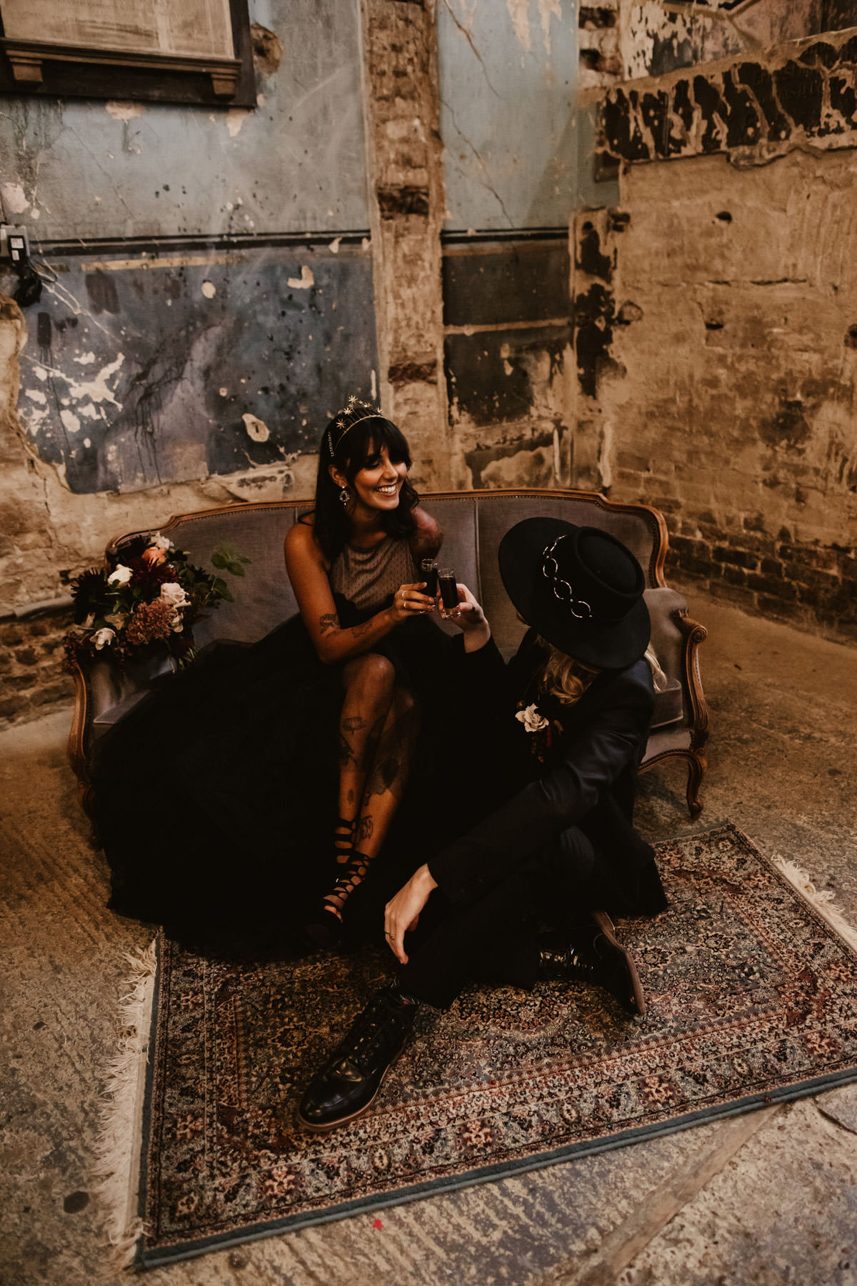 Dark + Curious Wedding Inspiration at The Asylum Chapel, London