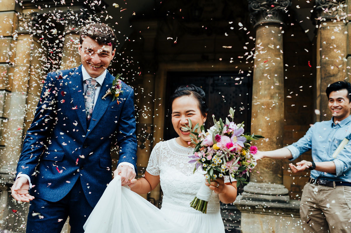 DIY, intimate wedding with a streamed Zoom ceremony and posh pic