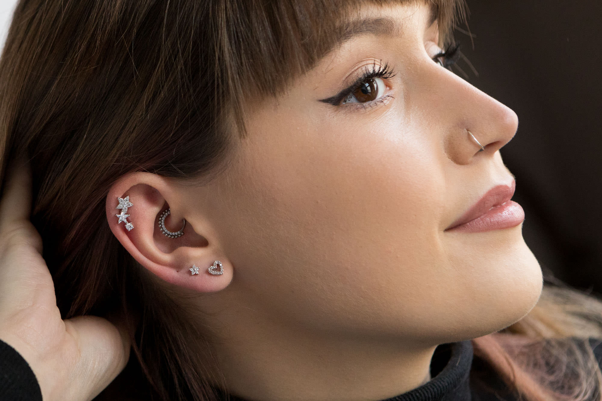 barbell design, birdesmaid jewellery, bridal accessories, bridal earrings, bridal jewellery, bridesmaid gifts, contempary jewellery, ear cuffs, helix, huggie hoops, labreyt design, lip rings, lobe earrings, modern jewellery, nose rings, stackable earrings, stacked earrings, statement jewellery, tragus, twilight london